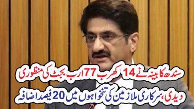 Photo of سندھ کابینہ نے 14کھرب77ارب بجٹ کی منظوری دیدی،سرکاری ملازمین کی تنخواہوں میں20فیصد اضافہ