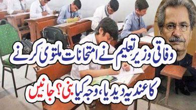Photo of وفاقی وزیر تعلیم نے امتحانات ملتوی کرنے کا عندیہ دیدیا ، وجہ کیابنی؟ جانیں