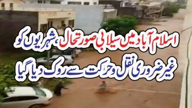 Photo of اسلام آباد میں سیلابی صورتحال ، شہریوں کو  غیر ضروری نقل و حرکت سے روک دیا گیا