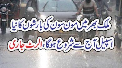 Photo of ملک بھر میں مون سون کی بارشوں کا نیا اسپیل آج سے شروع ہوگا، الرٹ جاری