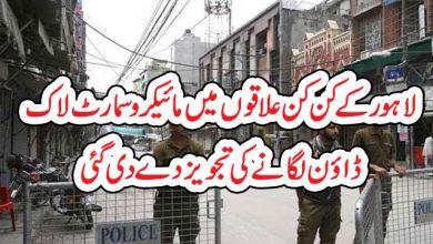 Photo of لاہور کے کن کن علاقوں میں مائیکرو سمارٹ لاک  ڈاؤن لگانے کی تجویز دے دی گئی
