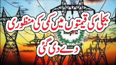 Photo of بجلی کی قیمتوں میں کمی کی منظوری دے دی گئی