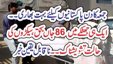 Photo of جمعہ کا دن پاکستانیوں کیلئے بہت بھاری۔۔ ایک ہی جھٹکے میں 86 جاں بحق، سیکڑوں کی حالت تشویشناک ۔۔ ناقابل یقین خبر