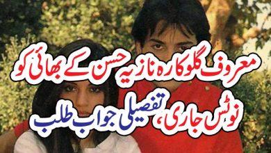 Photo of معروف گلوکارہ نازیہ حسن کے بھائی کو نوٹس جاری، تفصیلی جواب طلب