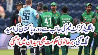 Photo of انگلینڈ کرکٹ ٹیم کی جانب سے دورہ پاکستان کی امید  لگ گئی، برطانوی حکومت بھی میدان میں آگئی