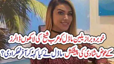 Photo of خوبرو برازیلین ماڈل کو عرب شیخ کی لاکھوں ڈالرز کے عوض شادی کی پیشکش، ماڈل نے کیا کہہ کر آفر ٹھکرا دی؟