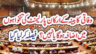 Photo of وفاقی کابینہ کے ارکان پارلیمنٹ کی تنخواہوں  میں اضافہ ہو گا یا نہیں؟  فیصلہ کر لیا گیا