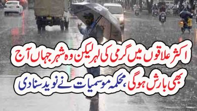 Photo of اکثر علاقوں میں گرمی کی لہر لیکن وہ شہر جہاں آج بھی بارش ہو گی، محکمہ موسمیات نے نوید سنا دی