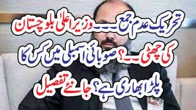 Photo of تحریک عدم جمع۔۔۔وزیراعلیٰ بلوچستان کی چھٹی ۔۔ ؟ ۔ صوبائی اسمبلی میں کس کا پلڑا بھاری ہے؟جانئے تفصیل