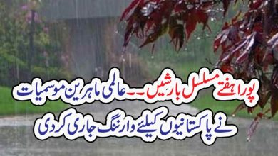 Photo of پورا ہفتے مسلسل بارشیں ۔۔ عالمی ماہرین موسمیات نے پاکستانیوں کیلئے وارننگ جاری کردی
