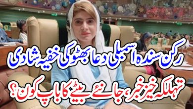 Photo of تہلکہ خیز خبر ۔۔۔رکن سندھ اسمبلی دعا بھٹو کی خفیہ شادی، بیٹے کا باپ کون؟ نام سن کا آپ حیران رہ جائیں گے۔۔۔