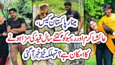 Photo of مینارِ پاکستان کیس، عائشہ اکرم اورریمبو کو کتنے سال قید کی سزا ہونے کا امکان ہے؟تہلکہ خیز خبر آگئی