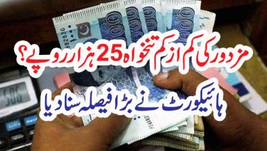 Photo of مزدور کی کم از کم تنخواہ 25ہزار روپے؟ ہائیکورٹ نے بڑا فیصلہ سنا دیا