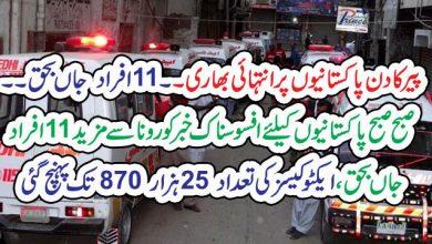 Photo of پیر کادن پاکستانیوں پر انتہائی بھاری۔۔ 11افراد  جاں بحق۔۔صبح صبح پاکستانیوں کیلئے افسوسناک خبر   کورونا سے مزید 11افراد جاں بحق، ایکٹو کیسز کی تعداد 25 ہزار 870 تک پہنچ گئی