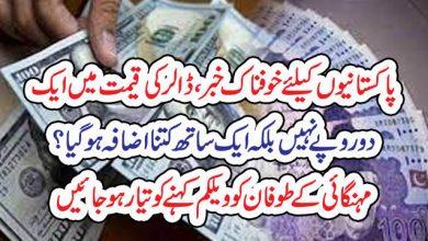 Photo of پاکستانیوںکیلئے خوفناک خبر ،ڈالر کی قیمت میںایک ، دو روپے نہیںبلکہ ایک ساتھ کتنا اضافہ ہو گیا ؟مہنگائی کے طوفان کو ویلکم کہنے کو تیار ہو جائیں