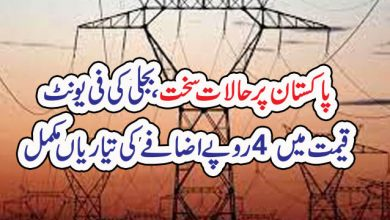 Photo of پاکستان پر حالات سخت ، بجلی کی فی یونٹ قیمت میں 4 روپے اضافے کی تیاریاں مکمل